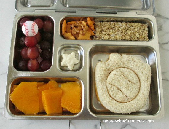 Baseball and glove sport bento lunch