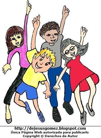 Dibujo de niños saltando felices. Niños hecho por Jesus Gómez