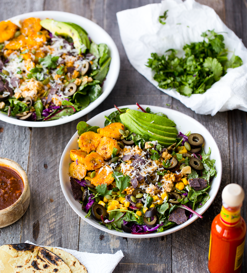 Vegan Summer Fiesta Taco Salad with Plantains, Corn, Avocado