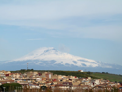 Mount Etna under covered by snow