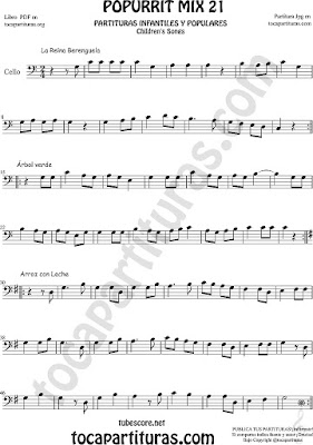 Partitura de Violonchelo La Reina Berenguela, Árbol Verde y Arroz con Leche Mix 21 Sheet Music for Cello Music Scores