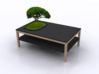 Mesa de madera con bonsai integrado