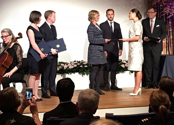 Crafoord Prize award ceremony. Princess Victoria wore H&M Floral Print dress, Gianvito Rossi Leather shoes and carried Anya Hindmarch Gold Metallic Clutch