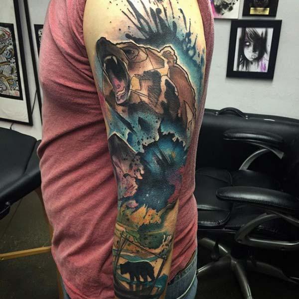 renkli kol kaplama dövmesi ayı tumblr