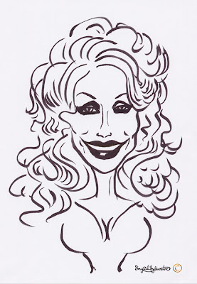 Dollly Parton caricature by UK caricaturist Ingrid Sylvestre