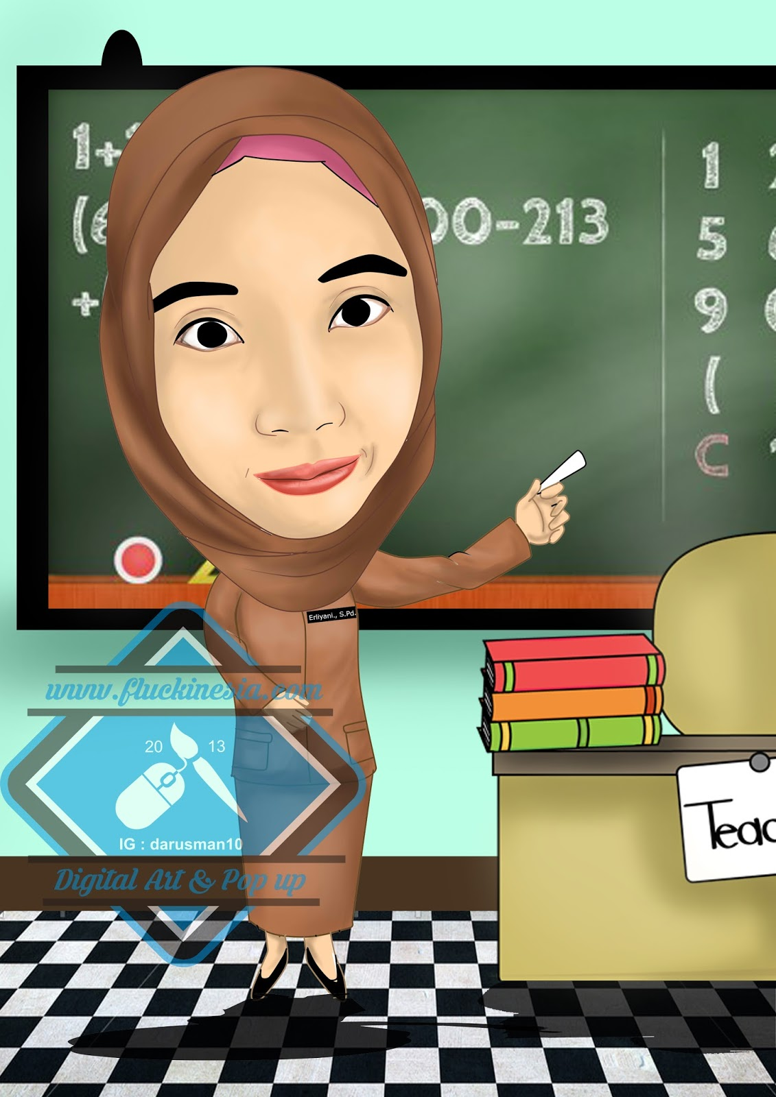 Gambar Contoh Hasil Mewarnai Guru Sedang Mengajar