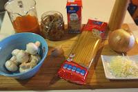 Tallarines con salsa de setas.