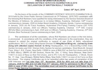 UPSC CDS (I) 2019 Written Exam Result declared Check now