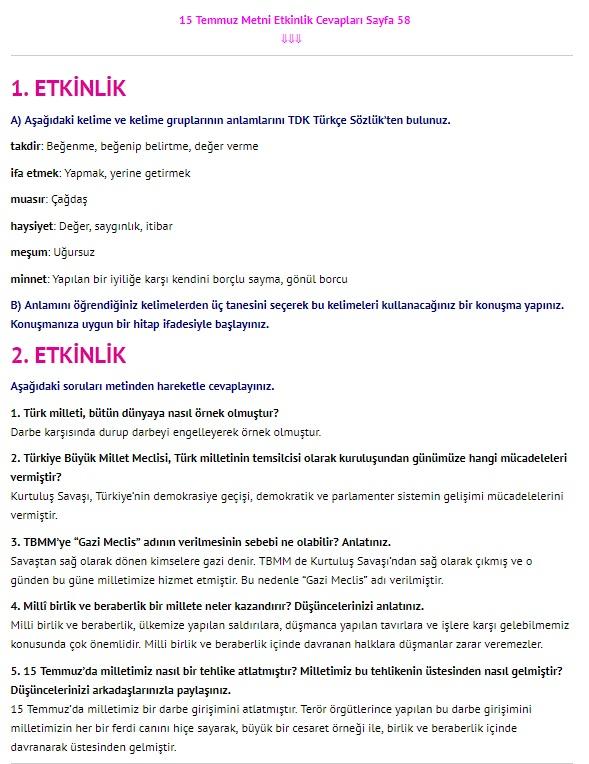 15 Temmuz Metni Cevapları sayfa 58