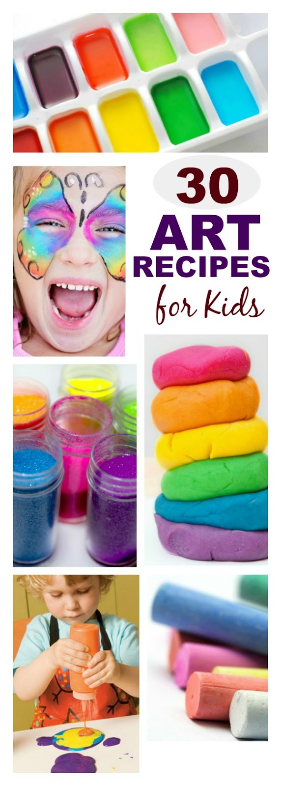 Recipes to make all of your kids art supplies at home- everything imaginable is on this list!!
