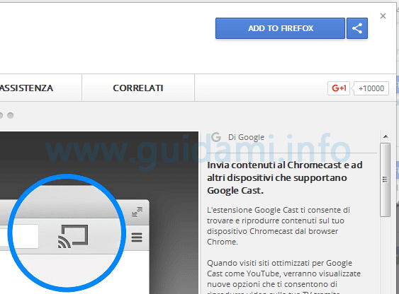 Pulsante Add to Firefox nel Chrome Web Store