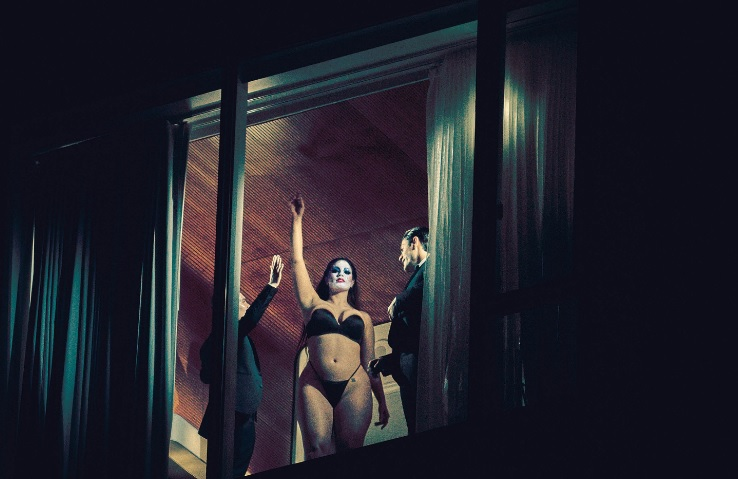 Plus Size Model Ashley Graham V Magazine Editorial Black Lingerie in Window Shot