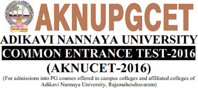 AKNUCET, Adikavi Nannaya University,PG Entrance Test