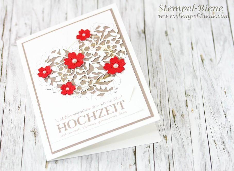 Stempel Biene Hochzeitskarte Mit Stampin Up Thinlits Bluhendes Herz