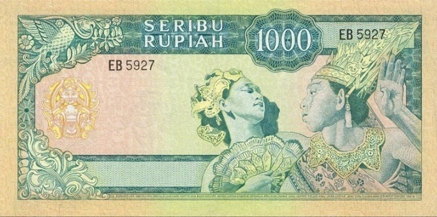 uang 1000 rupiah soekarno 1965 belakang