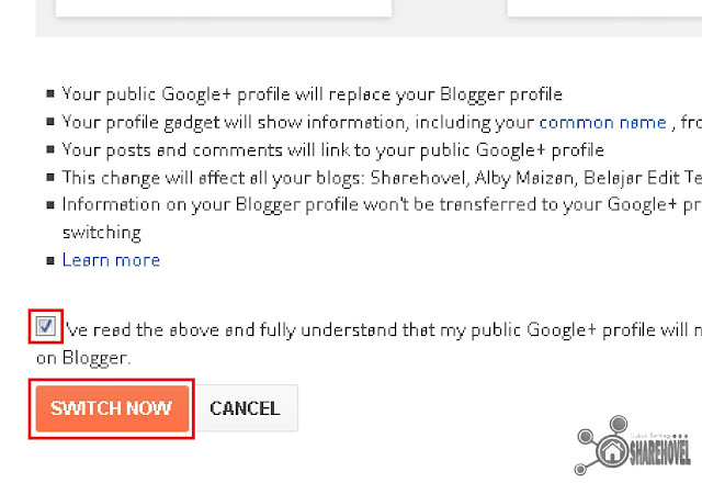 Switch Blogger Account to Google Plus - Menghilangkan Using Blogger as Unknown di dashboard blogger - sharehovel