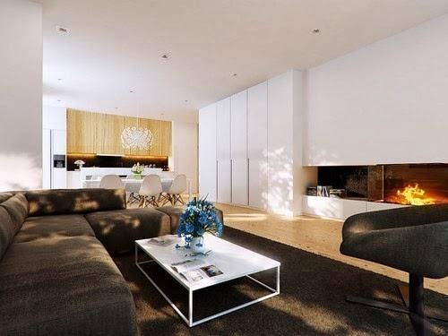 diseño de sala marrón y blanco