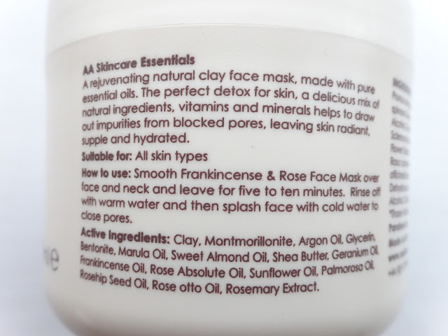 AA Skincare Frankincense & Rose Deep Cleansing Face Mask