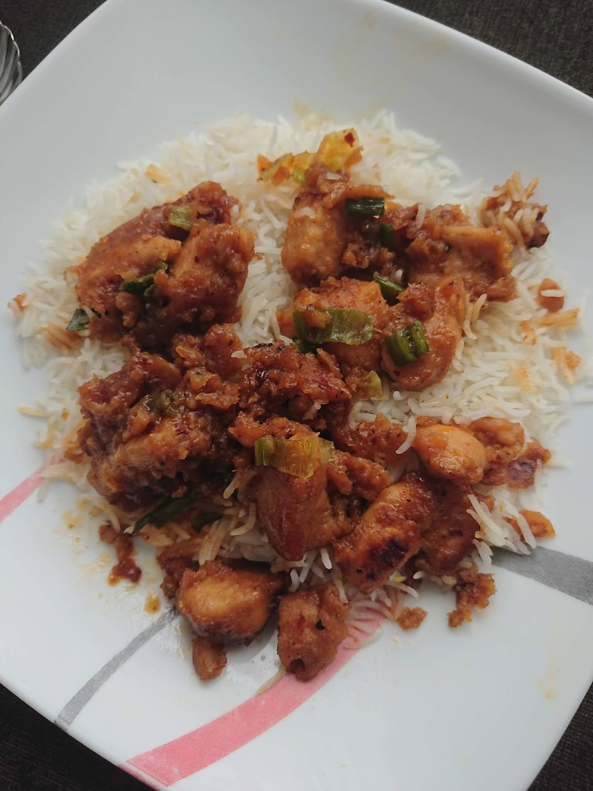 Air Fryer Allergy Friendly Gluten Free Honey Chicken over a bed of Rice