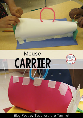 STEM Challenge: Read a book and build something! Here we are building a pet taxi for a mouse! Check the blog post for more details- including photos and materials needed!