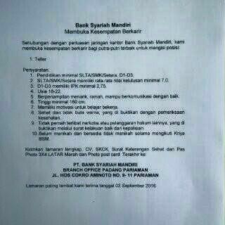 Lowongan Kerja di Pariaman – PT.Bank Syariah Mandiri – Teller (Penutupan 02 September 2016)