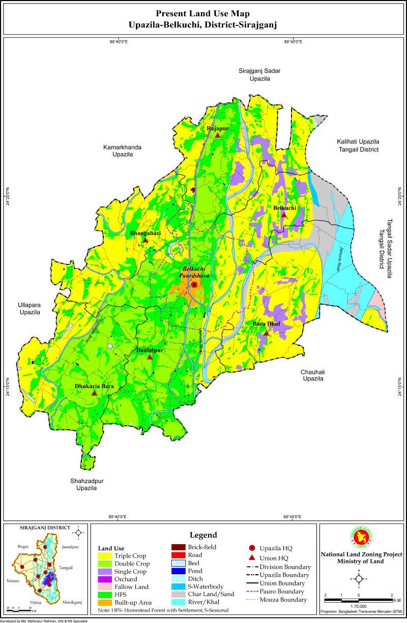 Belkuchi Upazila Mouza Map Sirajganj District Bangladesh