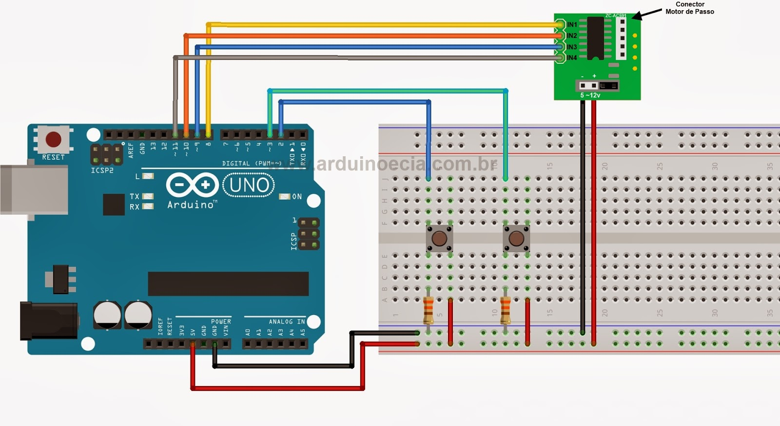 Ligando Motor De Passo 28byj 48 E Uln2003 Arduino E Cia