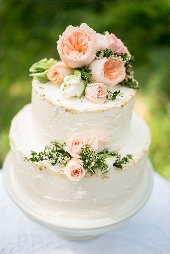 Beautiful Bridal Peach Floral Wedding Cakes