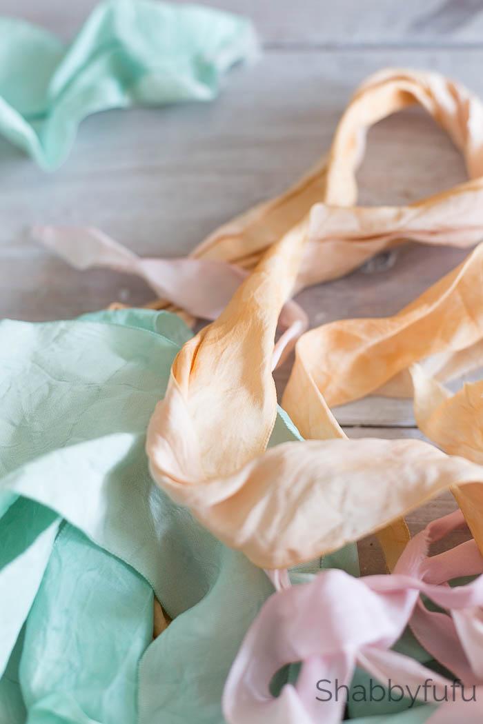 silk ribbon hand dyed