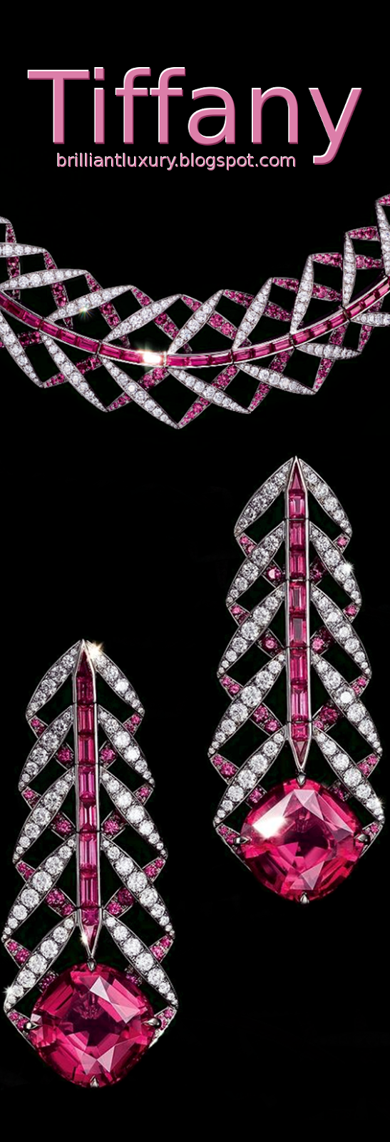 Brilliant Luxury ♦ Tiffany platinium pink sapphire & diamond necklace and earrings