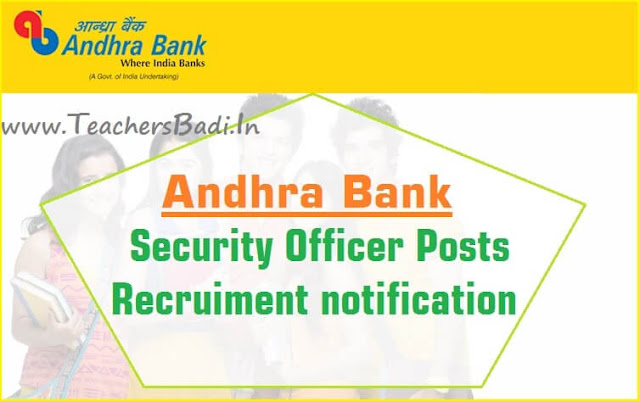 Andhra Bank,Security Officers,Recruitment 2016