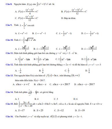 25 đề kiểm tra phần nguyên hàm tích phân - có đáp án