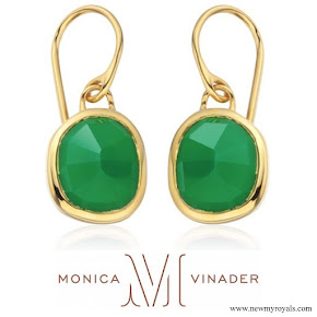 Kate Middleton wear Monica Vinader Gold Vermeil Green Onyx Siren Wire Earrings