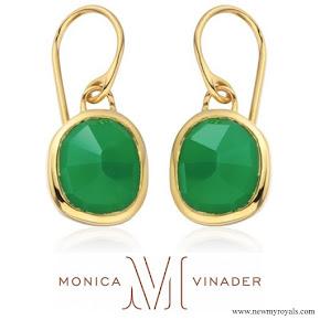 Kate Middleton wear Monica Vinader Gold Vermeil Green Onyx Siren Wire Earrings