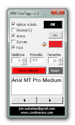 JRM Size Tags Macro for CorelDRAW