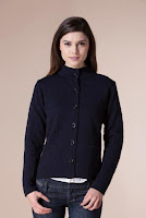 Jacheta bleumarin din tricot cu imprimeu floral