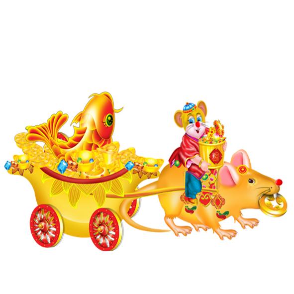 Chuột kéo xe vàng ngậm vàng