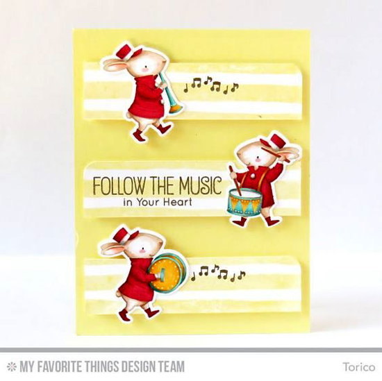 Handmade card from Torico featuring Birdie Brown Strike up the Band stamp set and Die-namics and Watercolor Stripes Background stamp #mftstamps