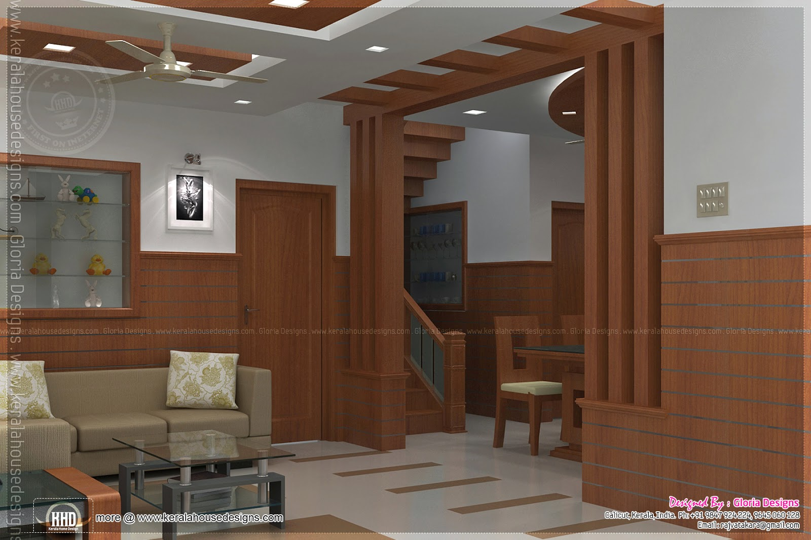 Home interior designs by gloria designs calicut kerala for Latest dining hall designs