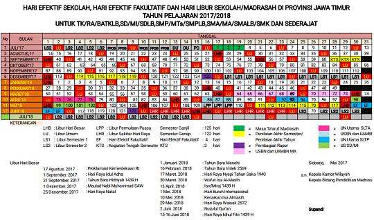 Kalender Pendidikan Tahun Pelajaran 2017-2018