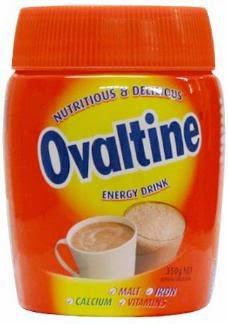 Embalagem do Ovomaltine na Inglaterra: Ovomaltina.