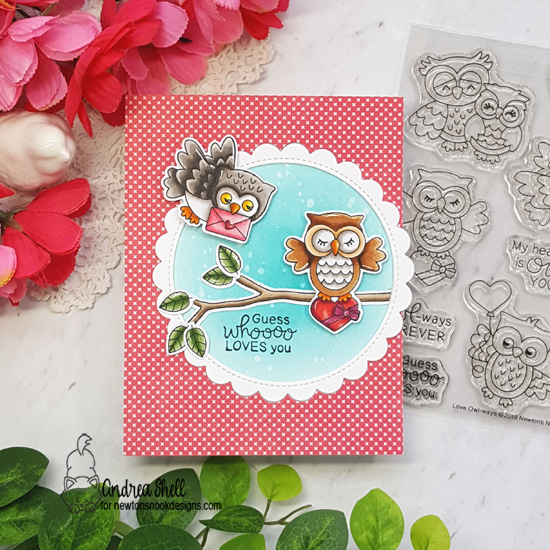 Owl Valentine Card by Andrea Shell | Love Owl-ways  and What a Hoot Stamp Sets by Newton's Nook Designs #newtonsnook #handmade