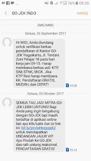 Contoh sms undangan  dari gojek