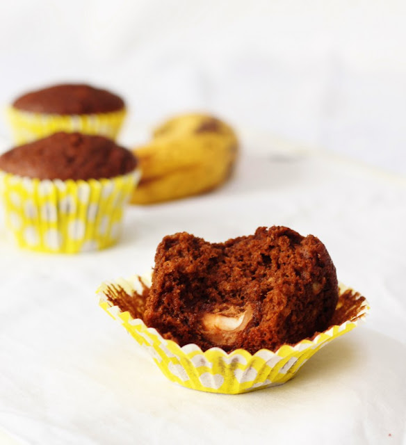 Easter themed cupcakes, Chocolate & Banana Creme Egg Surprise Muffins