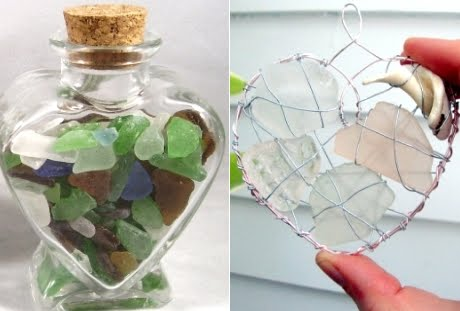 seaglass hearts