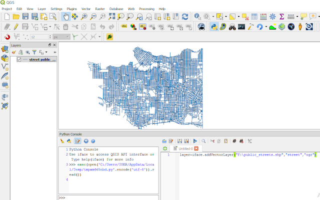 Adding a vector layer with qgis interface