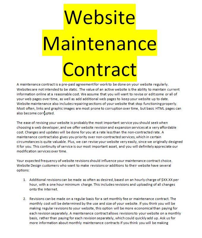 website maintenance contract template doc