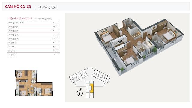Thiết kế căn hộ 3 phòng ngủ của chung cư The Golden An Khánh