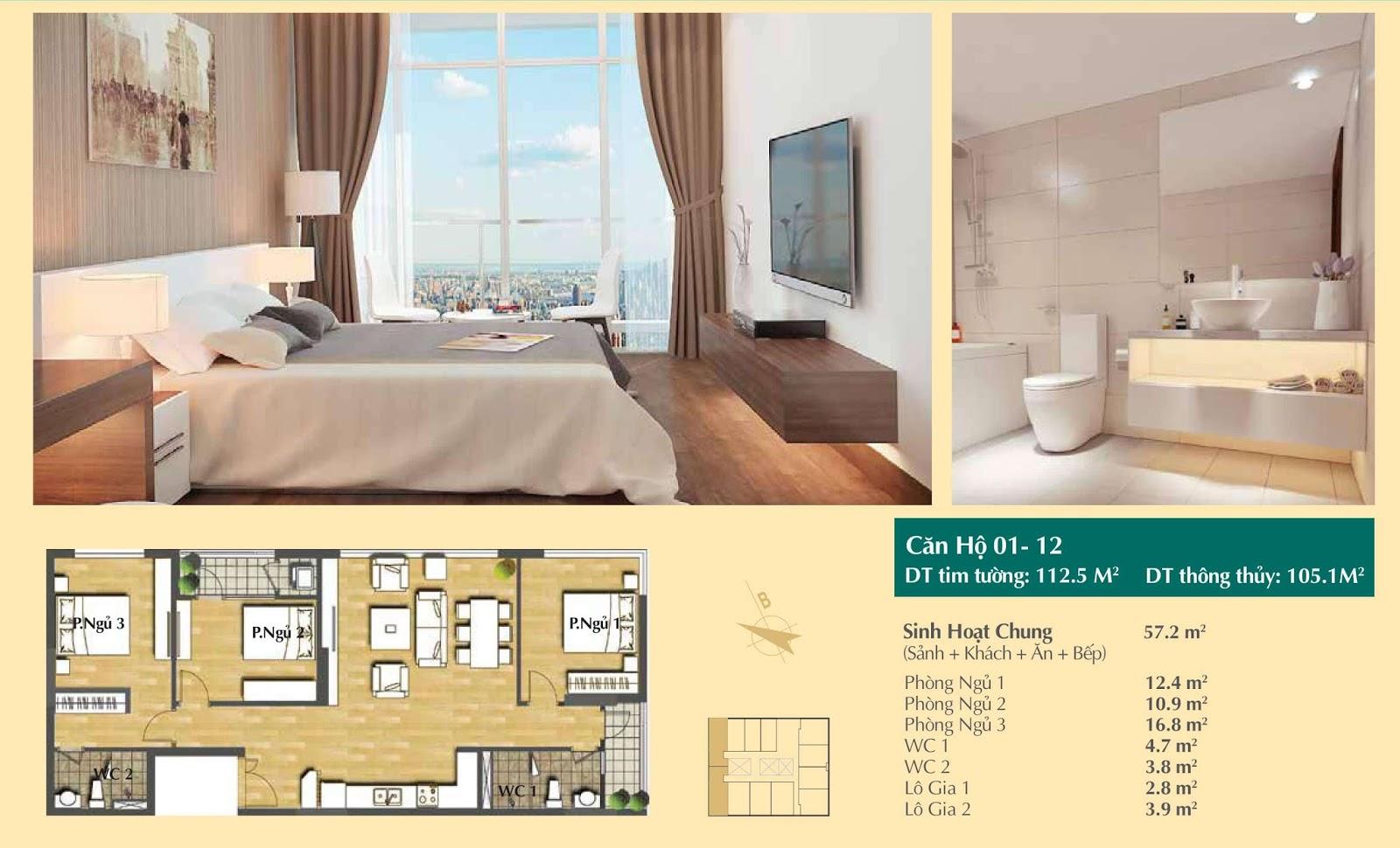 Thiết kế căn hộ số 01, 12 - 112,5m2 Hoàng Cầu Skyline