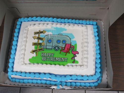 retirement cake with camper trailer